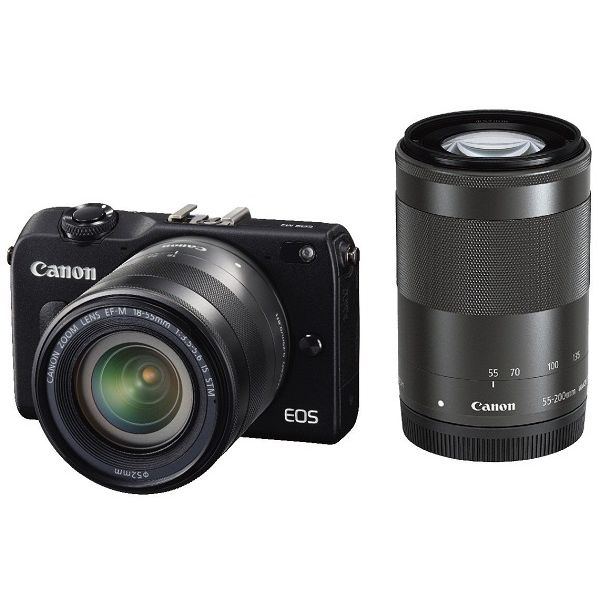 【中古】【1年保証】【美品】Canon EOS M2 18-55mm IS STM / 55-200mm IS STM ブラック