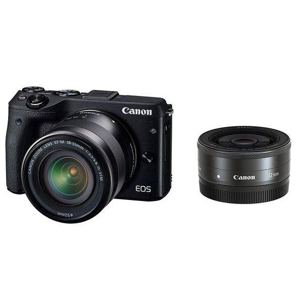 【中古】【1年保証】【美品】Canon EOS M3 18-55mm 22mm ダブルレンズキット ブラック