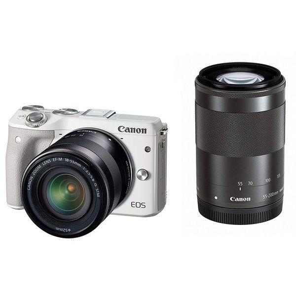 【中古】【1年保証】【美品】Canon EOS M3 18-55mm 55-200mm ダブルズームキット ホワイト