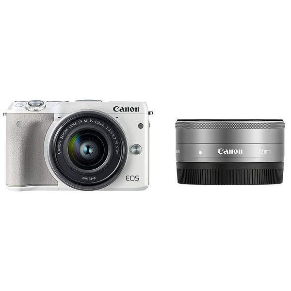 【中古】【1年保証】【美品】Canon EOS M3 15-45mm 22mm ダブルレンズキット ホワイト
