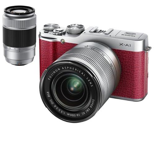【中古】【1年保証】【美品】FUJIFILM X-A1 16-50mm / 50-230mm ダブルレンズ レッド