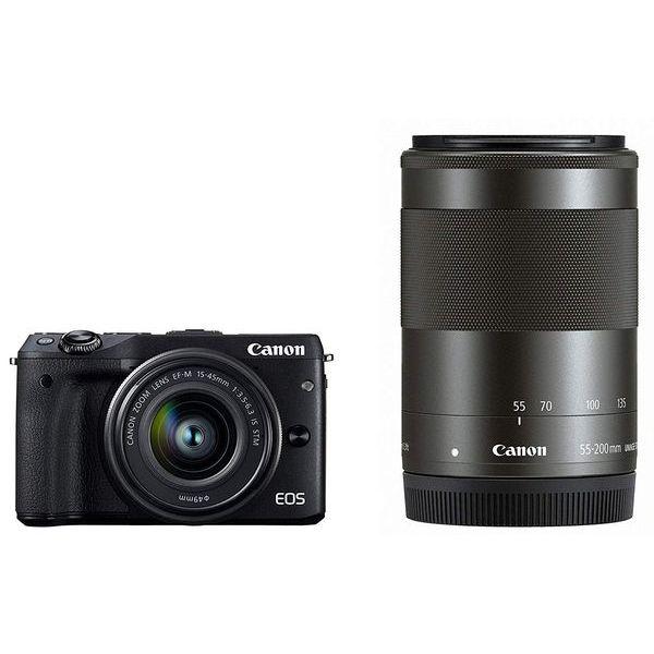 【中古】【1年保証】【美品】Canon EOS M3 15-45mm 55-200mm ダブルズームキット ブラック
