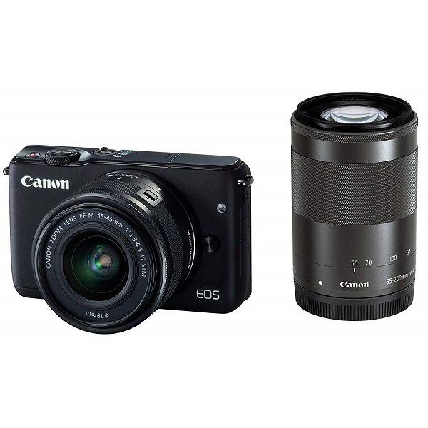【中古】【1年保証】【美品】Canon EOS M10 15-45mm 55-200mm ダブルズームキット ブラック