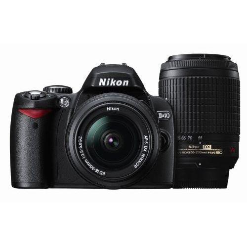 【中古】【1年保証】【美品】Nikon D40 18-55mm VR II 55-200mm VR ダブルズームキット ブラック