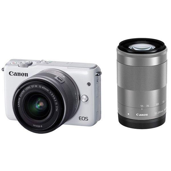 【中古】【1年保証】【美品】Canon EOS M10 15-45mm 55-200mm ダブルズームキット ホワイト