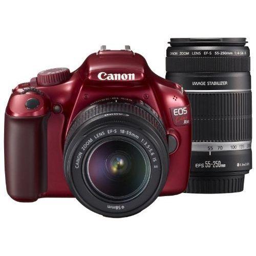 【中古】【1年保証】【美品】 Canon EOS Kiss X50 EF-S 18-55mm 55-250mm レッド