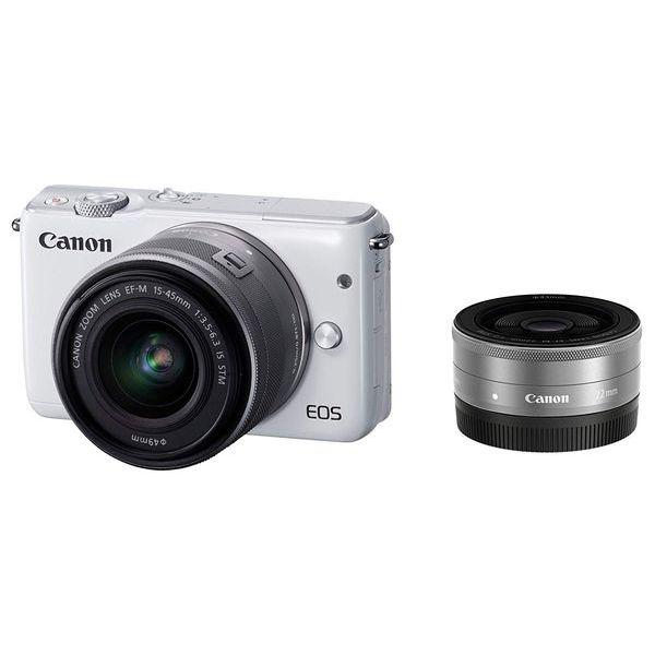 【中古】【1年保証】【美品】Canon EOS M10 15-45mm 22mm ダブルレンズキット ホワイト