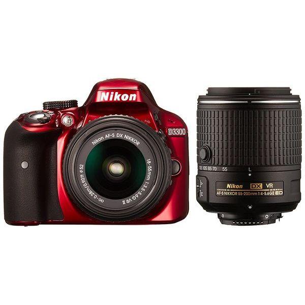 【中古】【1年保証】【美品】 Nikon D3300 18-55mm 55-200mm II VR レッド ダブルズームキット