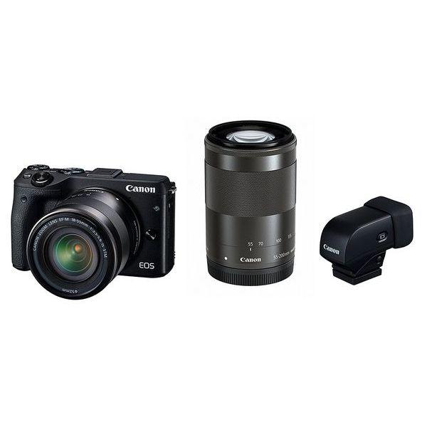 【中古】【1年保証】【美品】Canon EOS M3 ダブルズームEVFキット ブラック