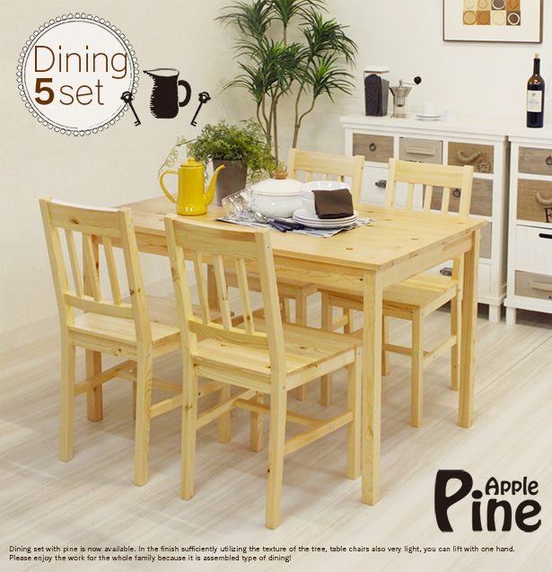 Kitchen Set Scandinavian: Premium-interior: Scandinavian Dining Set Wooden Pine