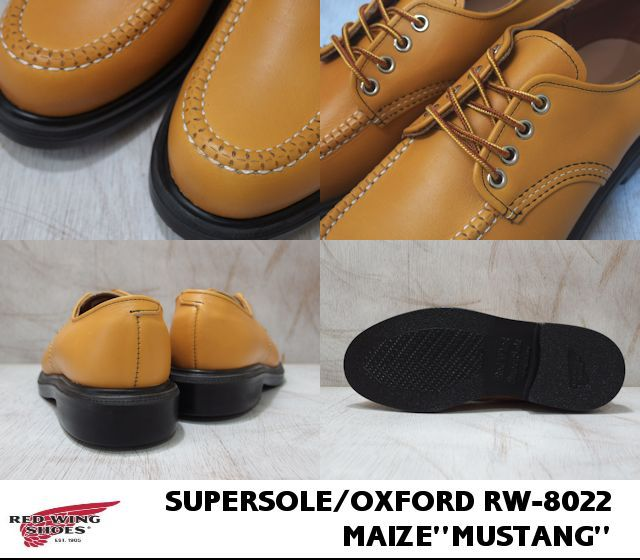 8022 (Maize) red wing RED WING #8022(MAIZE MUSTANG SUPER SOLE OXFORD red wing supermarket sole Oxford