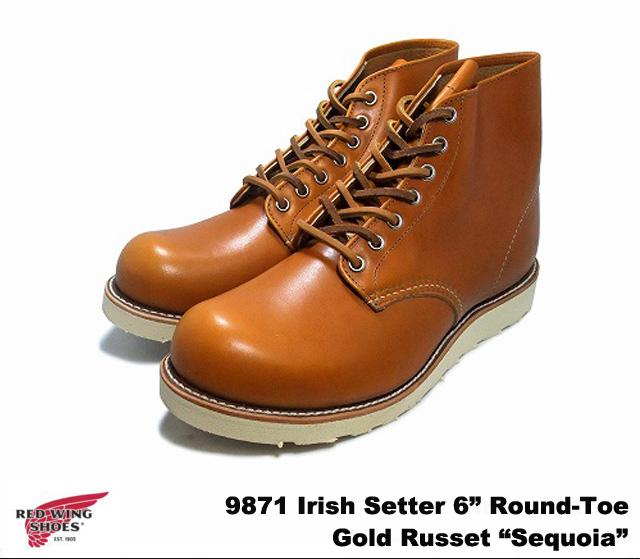純正ケア用品2点プレゼント レッドウィング ブーツ アイリッシュセッター 犬タグ 6インチ ラウンドトゥ ゴールドラセット セコイア RED WING 9871 6