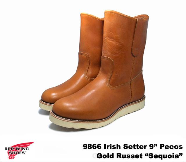 純正ケア用品2点プレゼント レッドウィング ブーツ アイリッシュセッター ペコス ブーツ 9866 ゴールドラセット セコイア 犬タグ RED WING Irish Setter 9