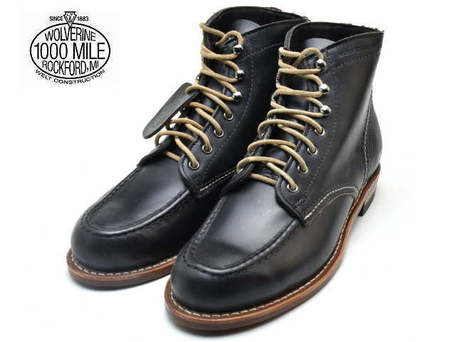 32110420238 Wolverene 1,000 miles boots black leather men boots Wolverene WOLVERINE  1000 MILE BOOT W40504 Leather MADE IN USA