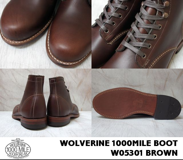 WOLVERINE 1000MILE BOOT/W05301 HORWEEN BROWN