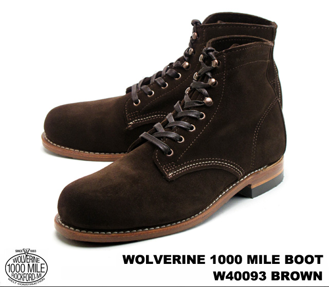 WO0LVERINE Wolverine ORIGINAL 1000 MILE BOOT original 1000 mile boot W40093 Brown Suede brown suede MADE IN U.S.A