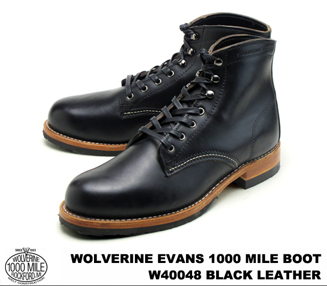 99bfda024dc WOLVERINE and Wolverine W40048 EVANS 1000 MILE BOOT Evans 1000 mile boot  BLACK / black Horween Chromexcel Leather howincromexcel leather MADE IN  U.S.A