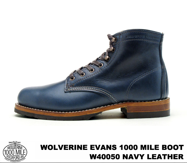 WOLVERINE and Wolverine W40050 EVANS 1000 MILE BOOT Evans 1000 mile boot NAVY / Navy Horween Chromexcel Leather howincromexcel leather MADE IN U.S.A