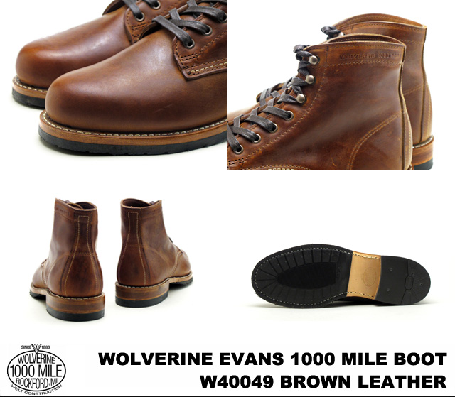 b84215d0f4a WOLVERINE and Wolverine W40049 EVANS 1000 MILE BOOT Evans 1000 mile boot  BROWN / Brown Horween Chromexcel Leather howincromexcel leather MADE IN  U.S.A