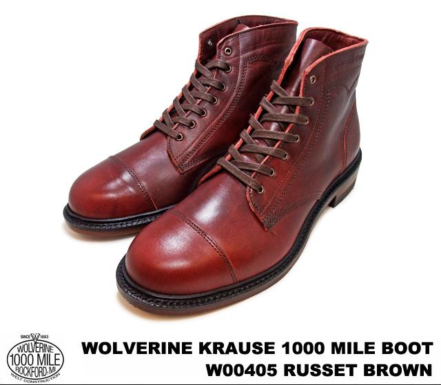 金刚狼 1,000 英里启动赤褐色棕色 Horween 都柏林金刚狼 W00405 KRAUSE 1000 英里启动 1000年英里男士靴子