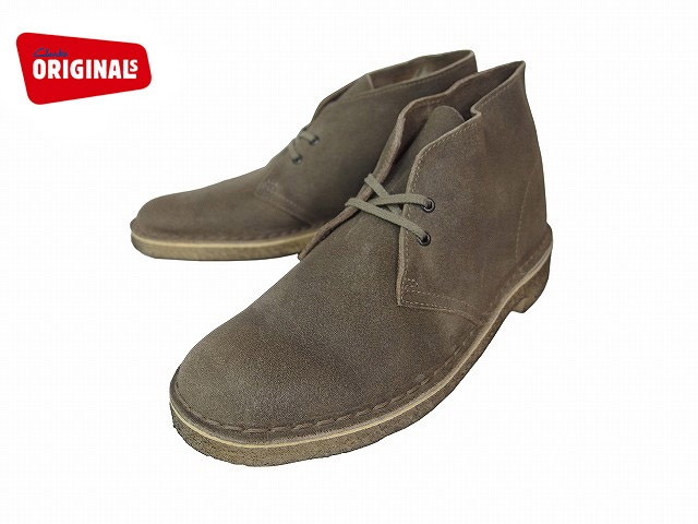 Clarks Desert Boot Mens Taupe Distressed Suede