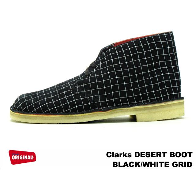 premium selection 3060a 85636 Clarks desert boots Clarks DESERT BOOT 26110027 BLACK WHITE GRID black and  white grid