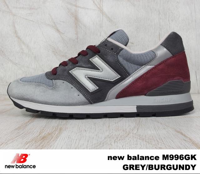 "New balance M996GK-new balance M996 GK GREY/BURGUNDY grey / Burgundy WIDTH:D ""MADE IN USA"""