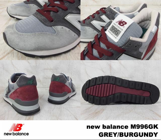 """新平衡 M996GK 新平衡 M996 GK 灰色/勃艮第灰色 / 勃艮第的宽度: D """"美国制造"""""""