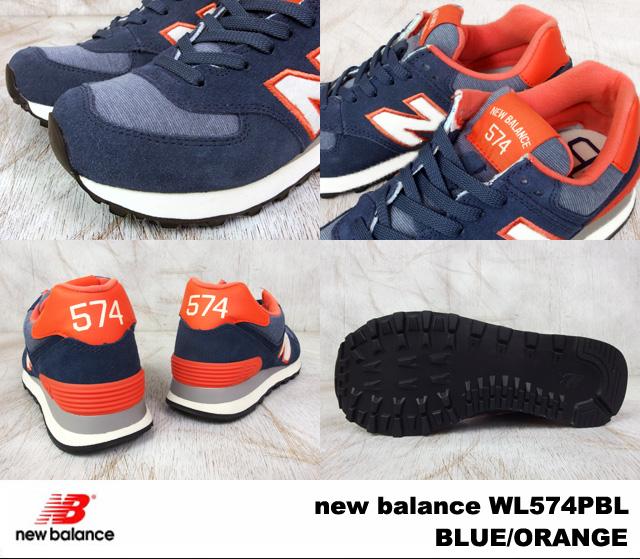 New balance 574 blue orange new balance WL574 PBL newbalance WL574PBL BLUE/ORANGE women's sneakers