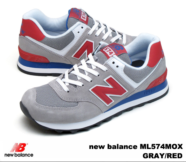 New balance 574 gray red new balance ML574 MOX newbalance ML574MOX GRAYRED mens Womens