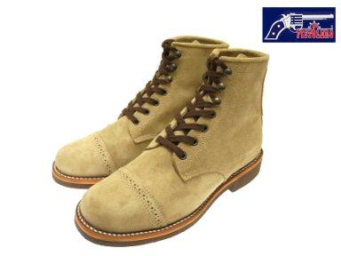 Pistoleros 6 英寸帽的花邊引導褐色絨面革男士靴子 PISTOLERO 109-03 (1612) 6' 帽腳趾花邊了引導譚麂皮絨作在墨西哥 / 在墨西哥