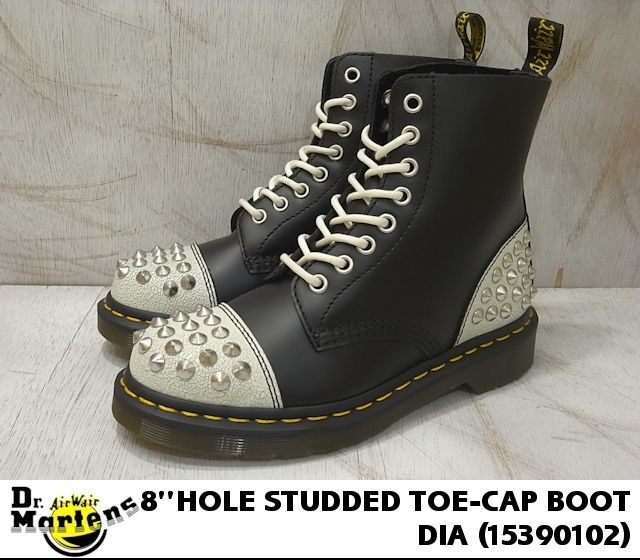 女子的博士马丁戴伊兹塔德二盖子长筒靴Dr.Martens WOMEN'S DAI STUDDED TOE-CAP BOOT WHITE BLACK BLACK 15390102