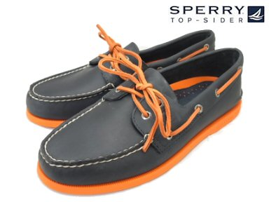 SPERRY TOP-SIDER AUTHENTIC/ORIGINAL 2EYE BOAT-SHOE NAVY/NEON ORANGE Sperry Corp.·最高層汽水確實的/原始物2眼睛小船徐#0271734