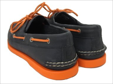 SPERRY TOP-SIDER AUTHENTIC/ORIGINAL 2EYE BOAT-SHOE NAVY/NEON ORANGE Sperry Corp.·最高层汽水确实的/原始物2眼睛小船徐#0271734