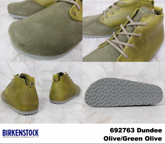 birukenshutokkudandimenzuredisushuzuoribugurin BIRKENSTOCK Dundee 692763 Olive/Olive Green幅狭