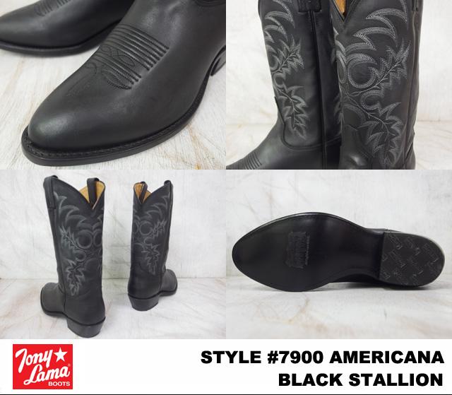 Tony Lama托尼喇嘛AMERICANA amerikana#7900 BLACK STALLION burakkusutarion WIDTH:EE人西部長筒靴