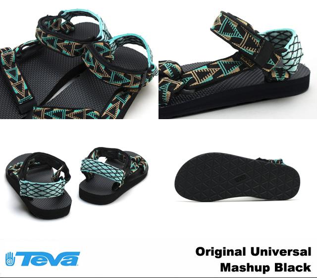 Teva 拖鞋男子原来普遍混搭黑色 Teva 1004006 原始普遍 Mashup 黑色