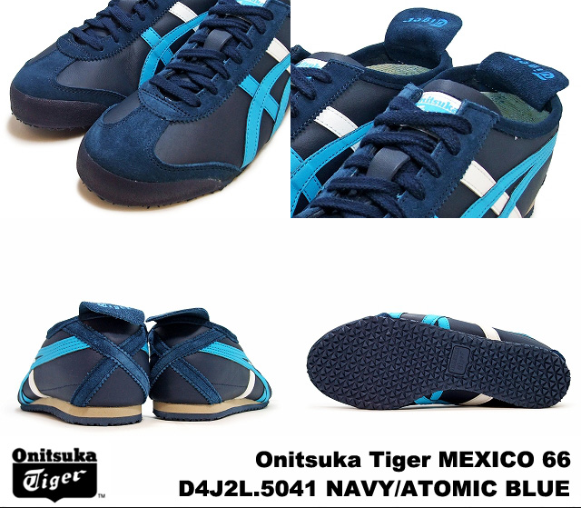 onitsukataigamekishiko 66墨西哥深藍阿托米克藍色Onitsuka Tiger MEXICO 66 D4J2L-5041 NAVY/ATOMIC BLUE人分歧D運動鞋