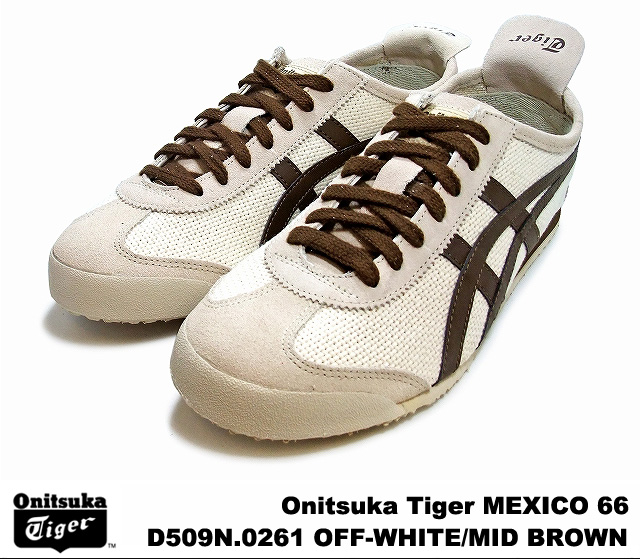 quality design 3fbac 87ebf Onitsuka Tiger Mexico 66 Mexico off-white mid Brown Onitsuka Tiger MEXICO  66 D 509N-0261 OFF WHITE/MID BROWN mens Womens sneakers