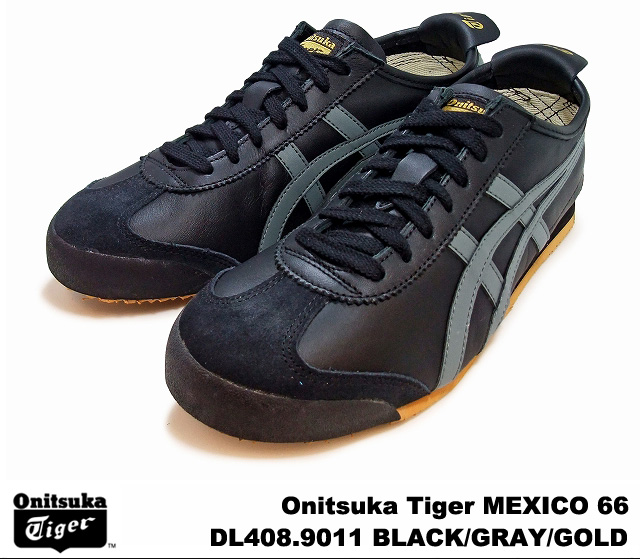 best service 9939a 9ef36 Onitsuka Tiger Mexico 66 Mexico black grey gold Onitsuka Tiger MEXICO 66  DL408-9011 BLACK/GRAY/GOLD mens Womens sneakers