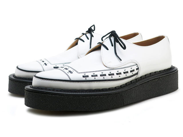 ジョージコックス ラバーソール ホワイト レザー メンズ 靴 シューズ イギリス製 GEORGE COX 3705V M/G GIBSON WHITE MADE IN ENGLAND