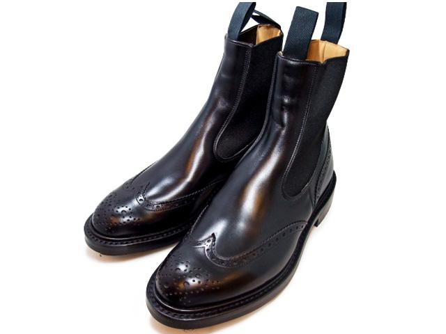 トリッカーズ サイドゴア ウィングチップ ブラックボックスカーフ レディース ブーツ サイドゴアブーツ Tricker's L2754 Henry Elastic Brogue Boot Black Box Calf