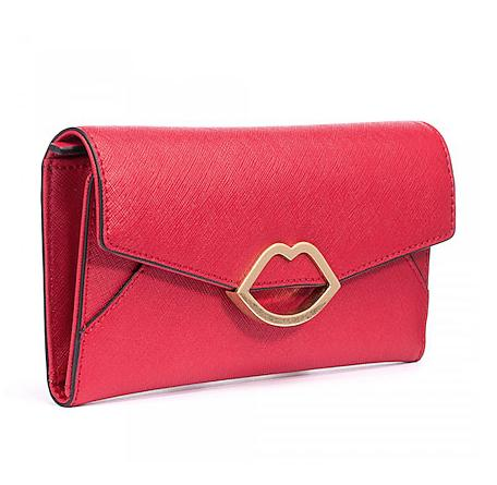 97f976bd3750 Lulu Guinness Red Crosshatched Leather Trifold Wallet