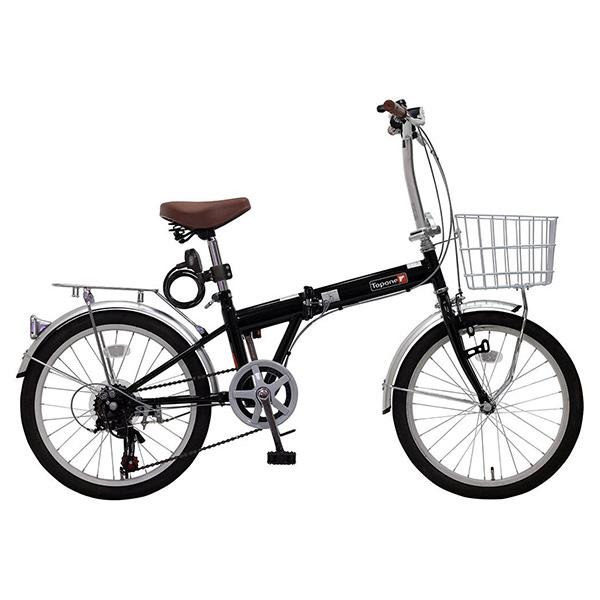 【送料無料】TOP ONE KGK206LL-09-BK ブラック [折りたたみ自転車(20インチ・6段変速)]【同梱配送不可】【代引き不可】【沖縄・北海道・離島配送不可】
