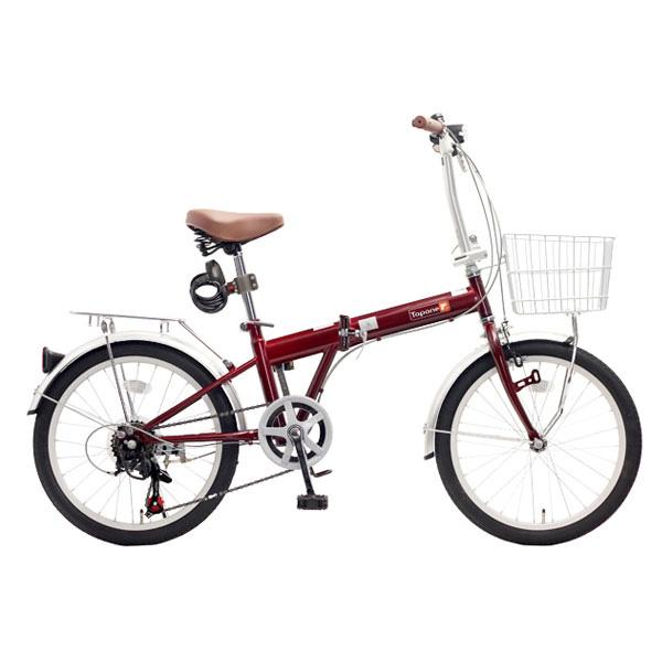 【送料無料】TOP ONE KGK206LL-34-RD レッド [折りたたみ自転車(20インチ・6段変速)]【同梱配送不可】【代引き不可】【沖縄・北海道・離島配送不可】