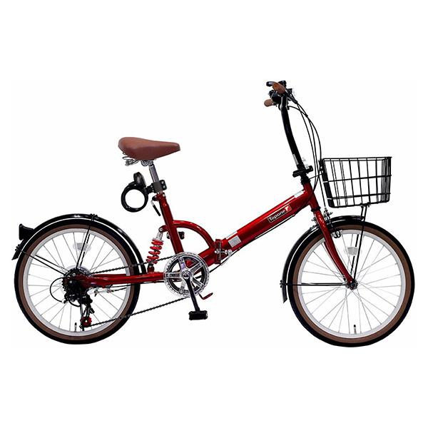 TOP ONE FS206LL-37-RD レッド [折りたたみ自転車(20インチ・6段変速)] 【同梱配送不可】【代引き・後払い決済不可】【沖縄・北海道・離島配送不可】