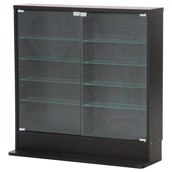 【送料無料】不二貿易 96070 ガラスコレクションケース ロータイプ 浅型 BK ブラック【同梱配送不可】【代引き不可】【沖縄・北海道・離島配送不可】