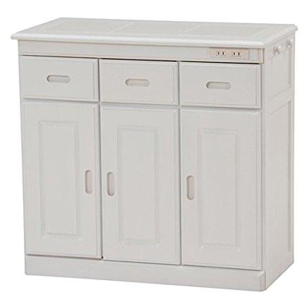 【送料無料】キッチンカウンター 収納 引き出し3杯 コンセント付き キャスター付き ホワイト