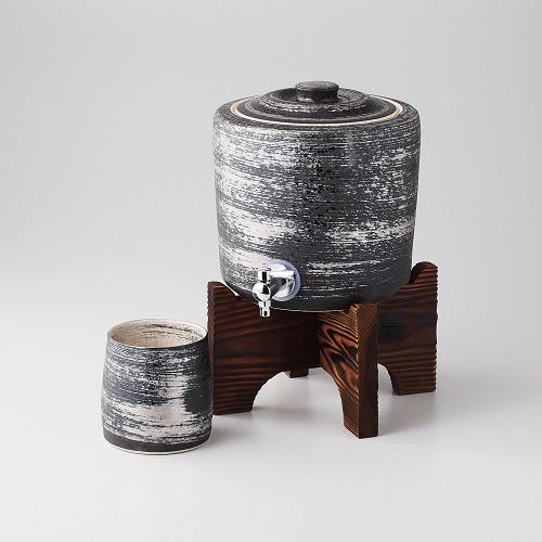 【送料無料】西日本陶器 TC06-04銀刷毛 焼杉台付焼酎サーバー+ビッグカップ【同梱配送不可】【代引き不可】