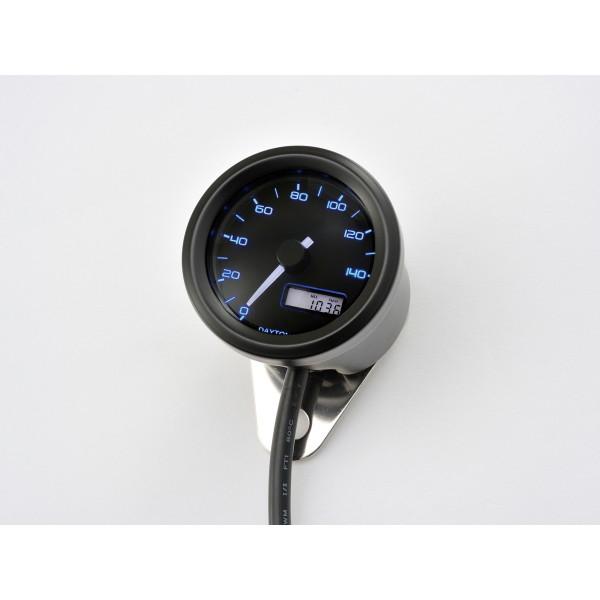 デイトナ D91682 [VELONA 電気式スピードメーター (非接触センサー無し) 140km/h ブラックボディ 3色LED]